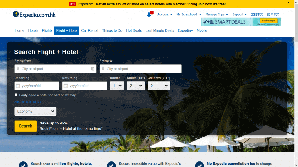 expedia flights and hotel